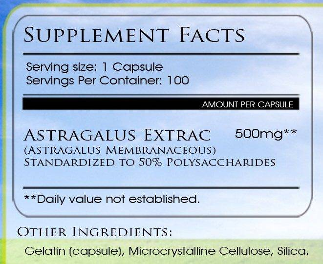 Astragalus supplement facts
